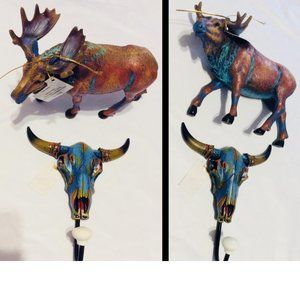 Longhorn Wall Hook and Moose Figurine